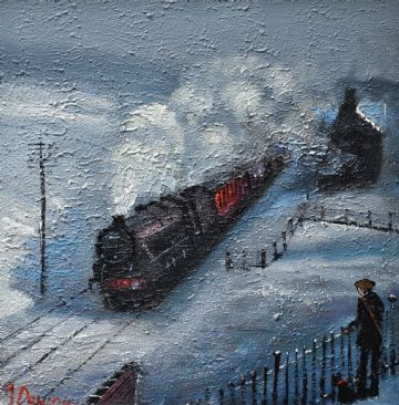 Framed James Downie Original Oil Painting Watching The Steam Train